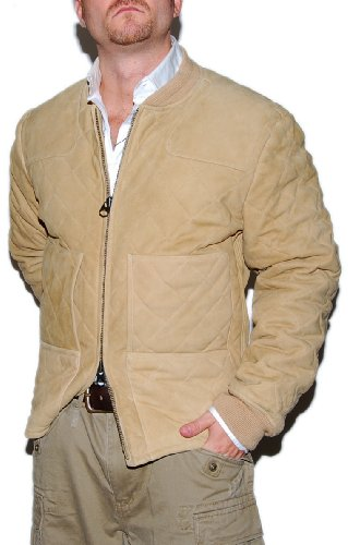 Polo Ralph Lauren Mens Vintage Hunting Quilted Suede Leather Jacket Khaki Tan XL