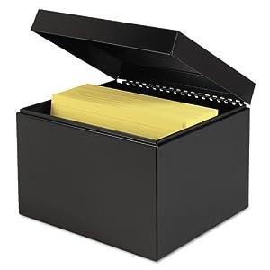 STEELMASTER Steel Card File Box, Fits 6 x 9 Index Cards, 900 Card Capacity, 9.5 x 7 x 8.5 Inches, Black (263869BLA)