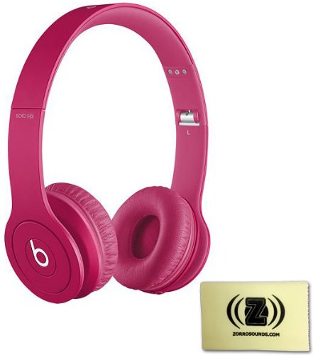 Beats Solo Hd Monochromatic Color Headphones Drenched In Magenta Bundle With Custom Designed Zorro Sounds Cleaning Cloth