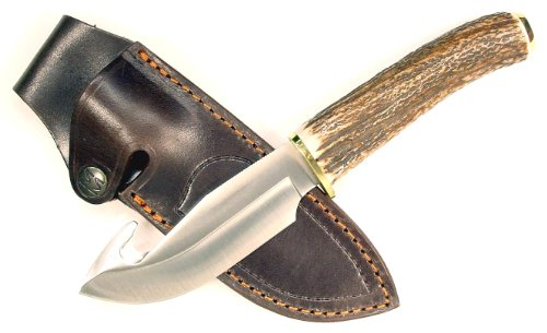 Ruko 4-1/2-Inch Blade Gut Hook Skinning Knife With Genuine Deer Horn Handle And Leather Sheath