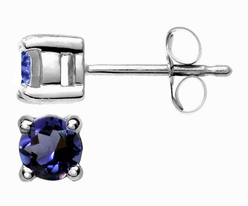 Romantic 9 ct White Gold Ladies Solitaire Stud Earrings with Iolite 0.50 Carat - 4mm*4mm