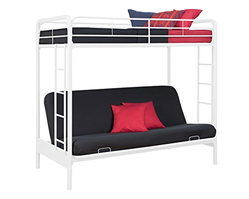 dhp twin over futon metal bunk bed white furniture beds