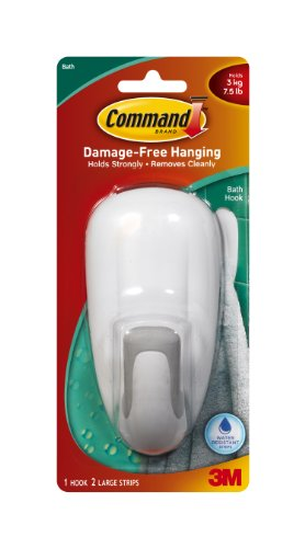 Command Bathroom Hook With Water-Resistant Strips, 1-Hook, 2-Strip