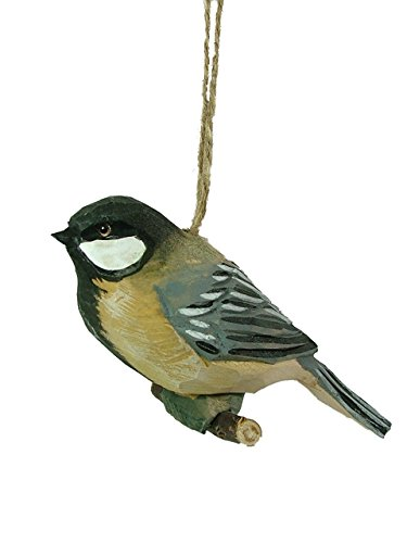 Carved Wood Chickadee Bird on Branch Christmas Ornament Creative Co-Op