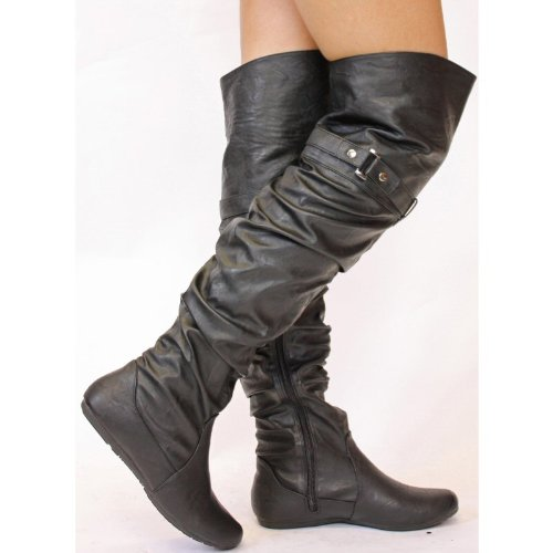 Ladies Womens Winter Biker Style Low Heel Thigh High Flat Over The Knee Pull on Knee Boots Size with shoeFashionista Boutique Bag