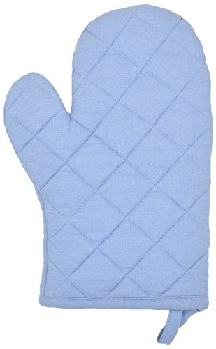D E Home 100%_cotton Plain Mitten (20 X 20 Cms, Light Blue)