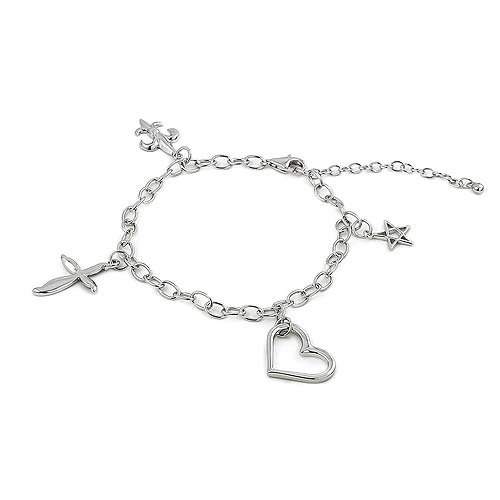 Classic Sterling Silver Charm Bracelet With Four Cubic Zirconia Charms