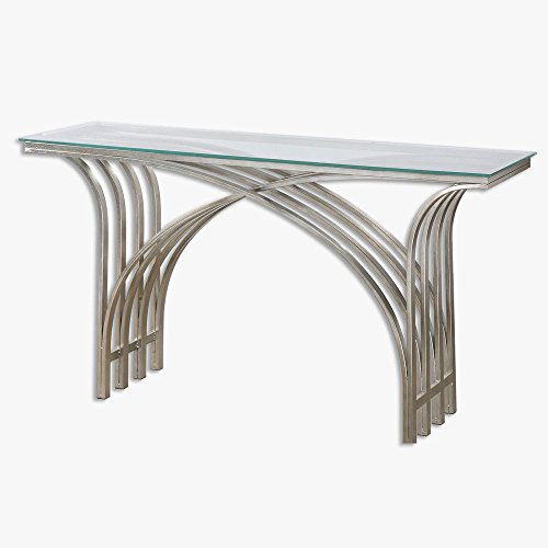 """Uttermost 24446 Kassia - 61"""" Console Table, Antiqued Silver Leaf Finish With Clear Tempered Glass"""