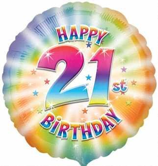 Anagram International Hx Happy 21st Birthday Balloon, Multicolor