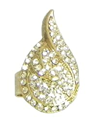Faux White Zirconia Adjustable Ring - Stone And Metal