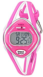 """Timex Women's T5K655 """"Ironman"""" Watch with Pink and White Resin Band"""