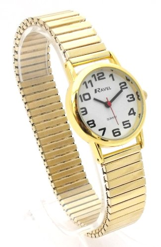 Ladies Easy Read Gold Expanding/Expander/Expansion Bracelet Band Watch (R0208.01.2S)
