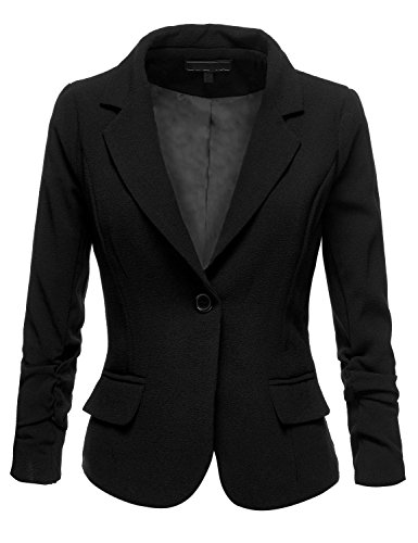 Shirring Sleeve One Button Moss Crepe Blazer (QPAD),005