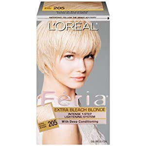 Amazoncom  L39Oreal Paris Feria Hair Color 205 Extra Bleach Blonde  Ha