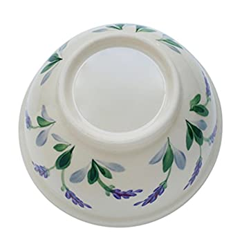 Ceramic Round Serving Bowl with Unique Decorative Lavender Flower Design by Arousing Appetites - 2 Quart Cream White Stoneware Serveware for Salad, Pasta, Vegetables, Popcorn and Soup