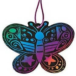 Pack of 12 - Magic Color Scratch Art Butterfly Ornaments - Great Magic Party Loot Bag Fillers