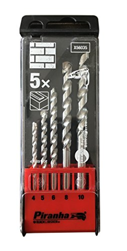 Black & Decker – Pirhana (X56035) – 5 Pc. High Performance Masonry Drill Bit Set (4, 5, 6, 8, 10 Mm)