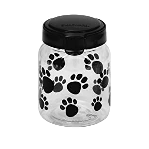 Pet Canister 4.2 Cup Black Paw by World Kitchen (PA)