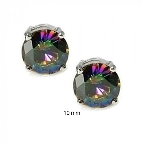 Bling Jewelry 925 Silver Round Rainbow Topaz Color CZ Unisex Stud Earrings 10mm