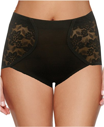 Ladies Control Briefs with Lace Decoration in Black size Large UK 14/16