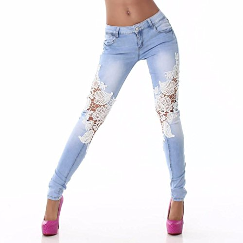 TOPITEMS Fashion Women Ladies Lace Stitching Jeans Skinny Pencil Pants Denim Trousers (L) (Akoo Pants compare prices)