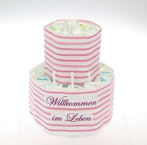 windeltorte willkommen im leben rosa geschenk zur taufe geburtsgeschenk f r m dchen. Black Bedroom Furniture Sets. Home Design Ideas