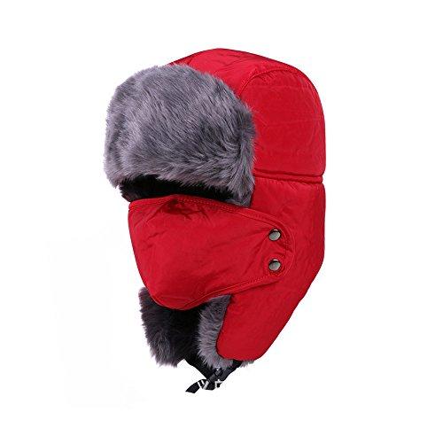 DELEY Uomini Donne Autunno Inverno Sci Cappuccio Caldo Paraorecchie Antivento Trapper Bomber Aviatore Cappello Rosso