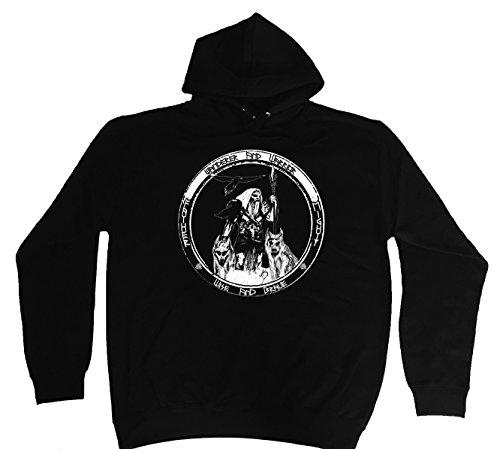 """'Hoodie-Felpa con cappuccio """"Odin-Wanderer... Viking M-5X L nero L"""