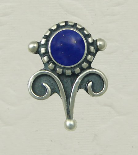 Lapis Lazuli Sterling Silver Vicorian Stud Earrings When You Need Just a Little Bit of Color