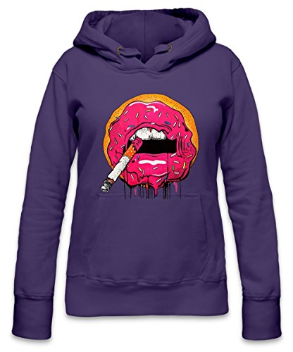 Donut Lips With Cigarette Womens Hoodie X-Large