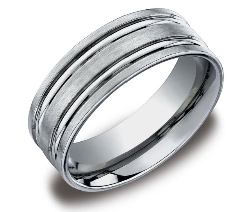 Men's Titanium 8mm Flat Comfort Fit Wedding Ring Band Satin Finish with Concave Cuts, Size 8.5
