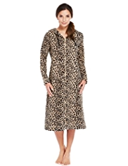 Hooded Zip Through Animal Print Fleece Dressing Gown