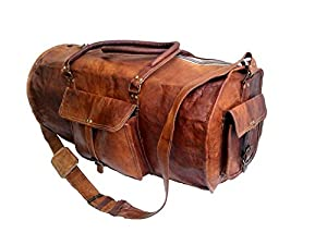 "Jaald 24"" Genuine Leather Men's Duffel Gym Sports Travel Weekend Duffle Bag. from Jaald"