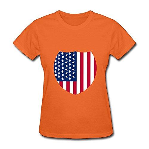 Usa Flag Women'S Crew Neck Shirt Orange Medium