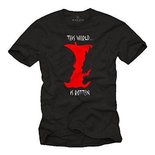 This World is Rotten - Ryuk Shinigami T Shirt Uomo Death Note Black Edition Nera L