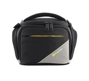 Evecase Black Medium SLR Camera Travel Case/Bag with Strap for Olympus SP-820UZ, SP-610UZ, SP-815UZ, SP-810UZ, SP-800UZ, SP-600 UZ, E-M5, E-PM2, E-PL5, E-PL2, E-PL1