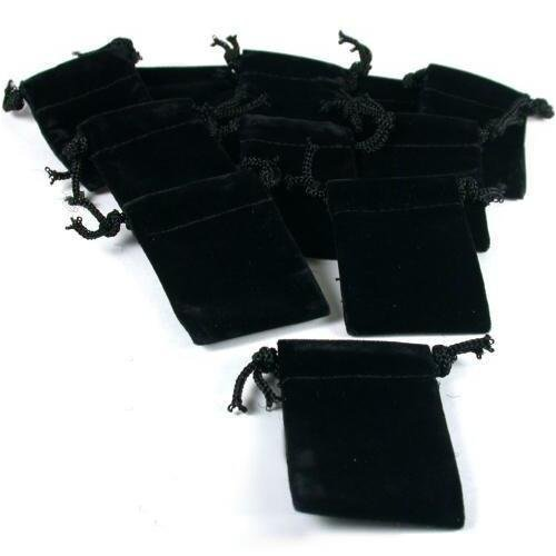 10 Pouches Black Velvet Drawstring Jewelry Bags 2