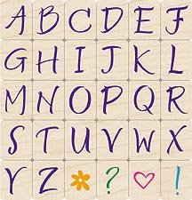 Brushstrokes Uppercase Alphabet Letters Wood Mounted Rubber Stamp Set (LL003)