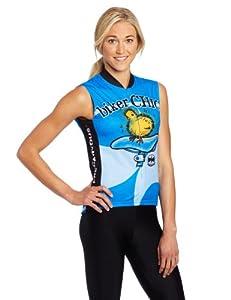 World Jerseys Women's Biker Chick Sleeveless Cycling Jersey, Blue, Small