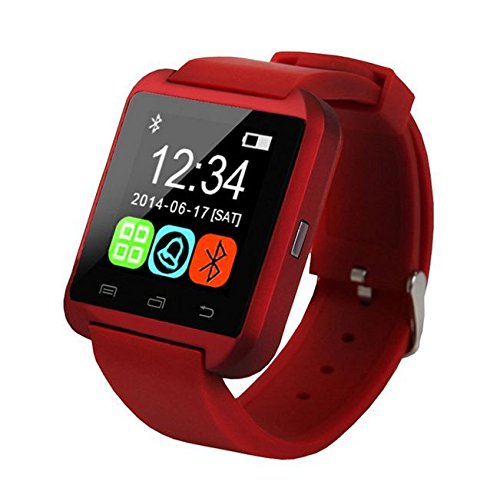 Pandaoo;&regU8 Wireless Bluetooth Smart Wrist Watch Mate for Ios & Android Samsung/sony (Red)