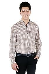 T.D.G Casual Long Sleeve Cotton Shirt (Brown)