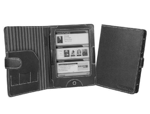 Cover-Up Ledertasche für BOOKEEN Cybook Odyssey eReader (Buch Stil) in Schwarz