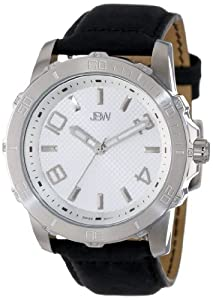 JBW Men's J6281C Silver 12 Diamonds Leather Watch