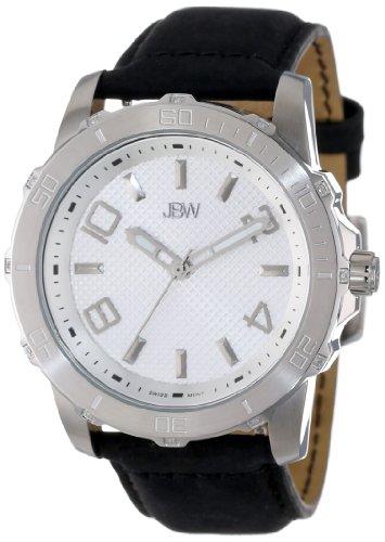 De los hombres JBW J6281C plata 12 diamantes reloj de la venda de cuero