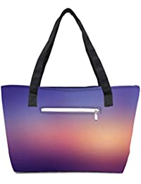 Pack Of 2 Evening Sunset Combo Tote Shopping Grocery Bag With Coin Pencil Purse