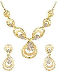 Voylla Gold Tone Necklace Set Embellished With CZ