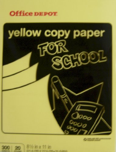 Office Depot Colored Copy Paper, Yellow, 8 1/2 Inch x 11 Letter Size, 20 lb., 300 Sheets Pack (375-203)