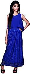 Trendz Today Women's Long Gown (GT05, Blue, Large)