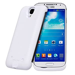 Invero® 3300mAh Rechargeable External Protective Battery Case Cover with Stand Feature for Samsung Galaxy S4 GT-I9500 (White)