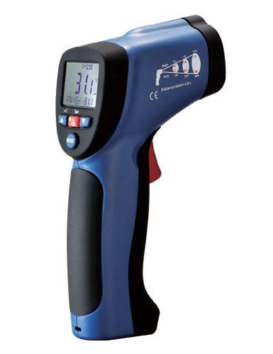 Wci Professional High-Temperature Ir Infrared Thermometer Laser Pointer Gun - Instant °C Or °F Measurements - Type K Input, 20 Point Memory, Lcd Display And Alarm - For Electrical, Hvac, Automotive Diagnostics, Or Cooking Etc.